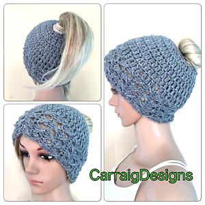 82259534cf900 HANDMADE Womens Beanie hat messy bun ponytail mom Crochet tam teens ...