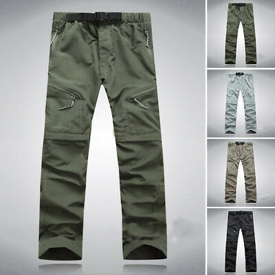 Men Quick Dry Zip Convertible Cargo Pants Shorts Outdoor Hiking Combat Trousers