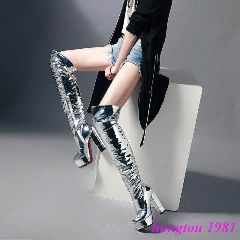 Gladiador Mujer Gillter la Clubwear Charol Sobre la Gillter rodilla alto del muslo Zapatos Bota 8ab078