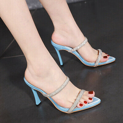 Womens Patent Leather Pointy toe sandals rhinestones slippers block heel shoes s