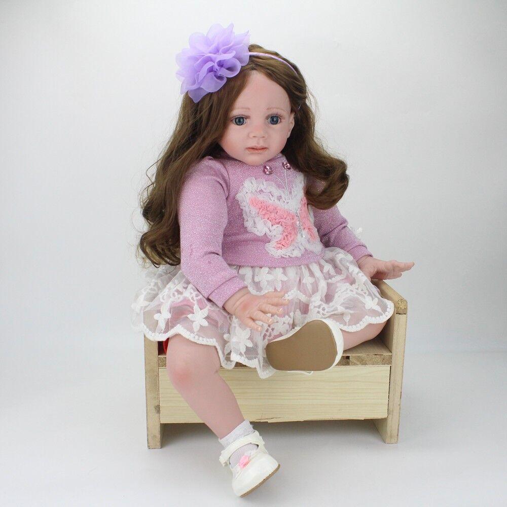 24   Bambole Reborn bambino Girl realistici neonato lunghi capelli Girl bambola + vestiti 2019  marchi di stilisti economici