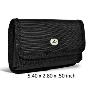 Black-Horizontal-Nylon-Rugged-Pouch-Holster-w-Belt-Clip-amp-Loops-5-40x-2-80x-50