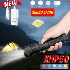 90000LM LED Tactical Flashlight Super Bright With USB Rechargeable Battery US