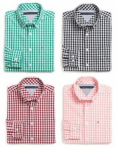 Tommy hilfiger men long sleeve button down gingham plaid for Tommy hilfiger gingham dress shirt