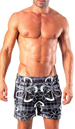 Geronimo Swimming Mens Floral Shorts Flowered Swim shorts Black White