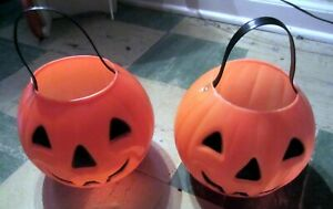 Vintage-Halloween-Pumpkin-Candy-Baskets-Pair-For-Sale-1980-VG-Used