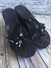 BCBG Flip Flop Platform Wedge Thong Sandals Black  7 M