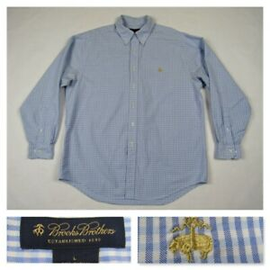 Brooks-Brothers-1818-Mens-Blue-Check-Button-Front-Sheep-Logo-Dress-Shirt-Large