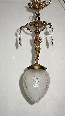 Antik Französische Messing-kristall-glas Putten Kronleuchter, Lüster 1 Flammig Elegante Form