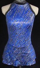 ROYAL BLUE AND BLACK SPARKLE Competition Ice Skating Dress / GIRLS MED 8 / 10