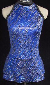 ROYAL BLUE BLACK SPARKLE Ice Figure Skating Competition Dress / GIRLS MED 8 / 10