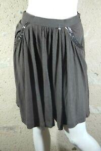 TARA-JARMON-Taille-36-Superbe-jupe-marron-bronze-en-laine-melangee-skirt