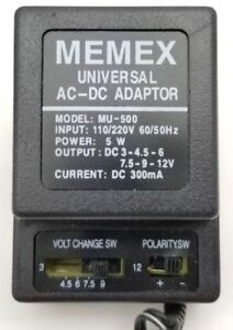 NEW MEMEX MU-500 UNIVERSAL AC-DC CHARGER ADAPTER 6 WAY PLUG UNIVERSAL TIPS