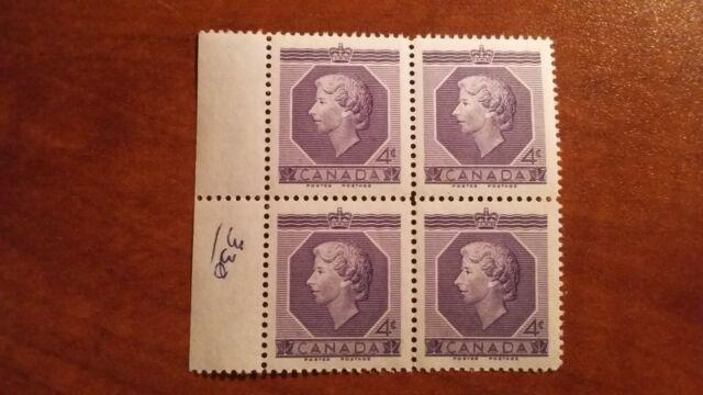 Canada 1953 #330 4c violet QEII Coronation  Block of 4 single Mint VFNH