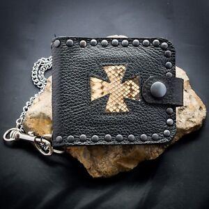 Iron Cross Leather Snakeskin Wallet Key Belt Chain Mens Womens Biker feeanddave