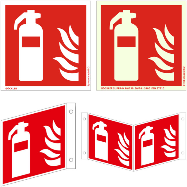 200x200mm Folie Brandschutzzeichen Feuerl/öscher Brandschutzschild selbstklebend nachleuchtend 7010 Symbolschild ASR A1.3