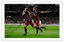 Andres Iniesta Barcelona FC Football Lujan ES Signed Autographed Photo Print A4