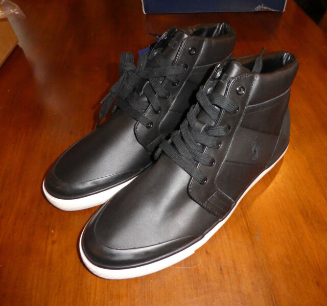 a98c67b012226 Polo Sport Ralph Lauren Isaak Black leather mens sneakers new shoes