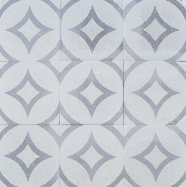 8x8 Luna Gray Geometric Encaustic Cement Tile Floor Wall Kitchen Bath(BOX  OF 9)