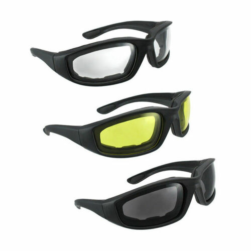 3Pair Motorcycle Sport Biker Riding Glasses Padded Wind Resistant Sunglasses
