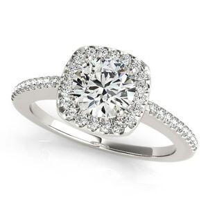 120 Carat Halo Diamond Womens WeddingEngagement Ring in 14K White