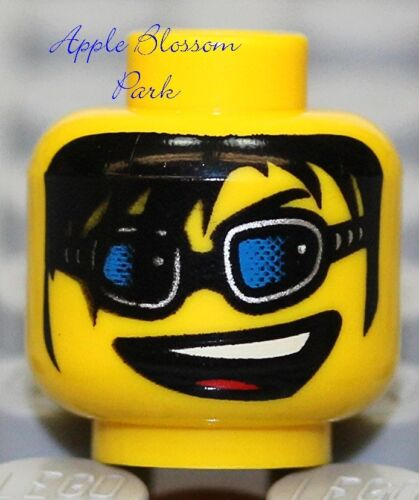 NEW Lego City Police Agents MINIFIG HEAD Boy w//Sunglasses Smile /& Black Hair