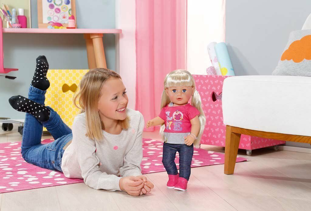 ^  BABY BORN Sister Interactive Zapf Creation Puppe 43 cm Schwester MODELL 2016
