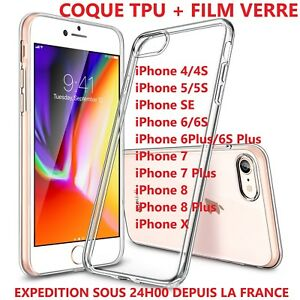 Coque-Housse-Etui-Gel-Silicone-iPhone-5-6-7-8-S-Plus-film-verre-trempe-ecran