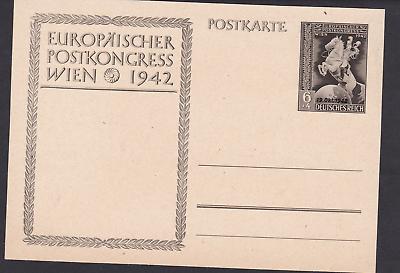 """Aggressiv Dr Okt Postkarte Europäischer Postkongress Mit Zudruck """"19 1942"""" Postfrisch NüTzlich FüR äTherisches Medulla"""