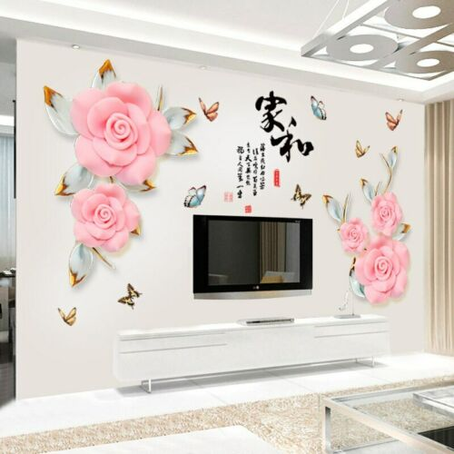 Wall Stickers Pink Rose Wall Living Room Bedroom Decorative Home Decal Mural