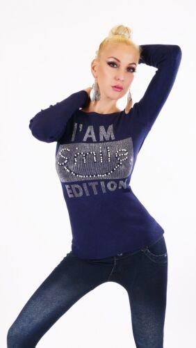 Damen Langarm Pullover kurz Pulli Sweater Strass Perlen Applikation 34-38