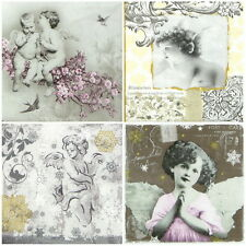 4x Single Table Party Paper Napkins for Decoupage Decopatch Romantic Angel -Mix