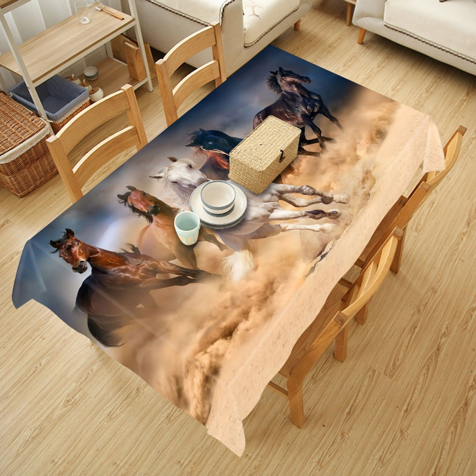 3D Horses Running 231 Tablecloth Table Cover Cloth Birthday Party Event AJ Lemon