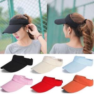 f7b4db86 Unisex Summer Golf Tennis Hat Women Men Sports Wide Brim Beach Visor ...