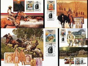 1987-The-Man-From-Snowy-River-Maxi-Cards-Postcard-Maxicards-Stamps