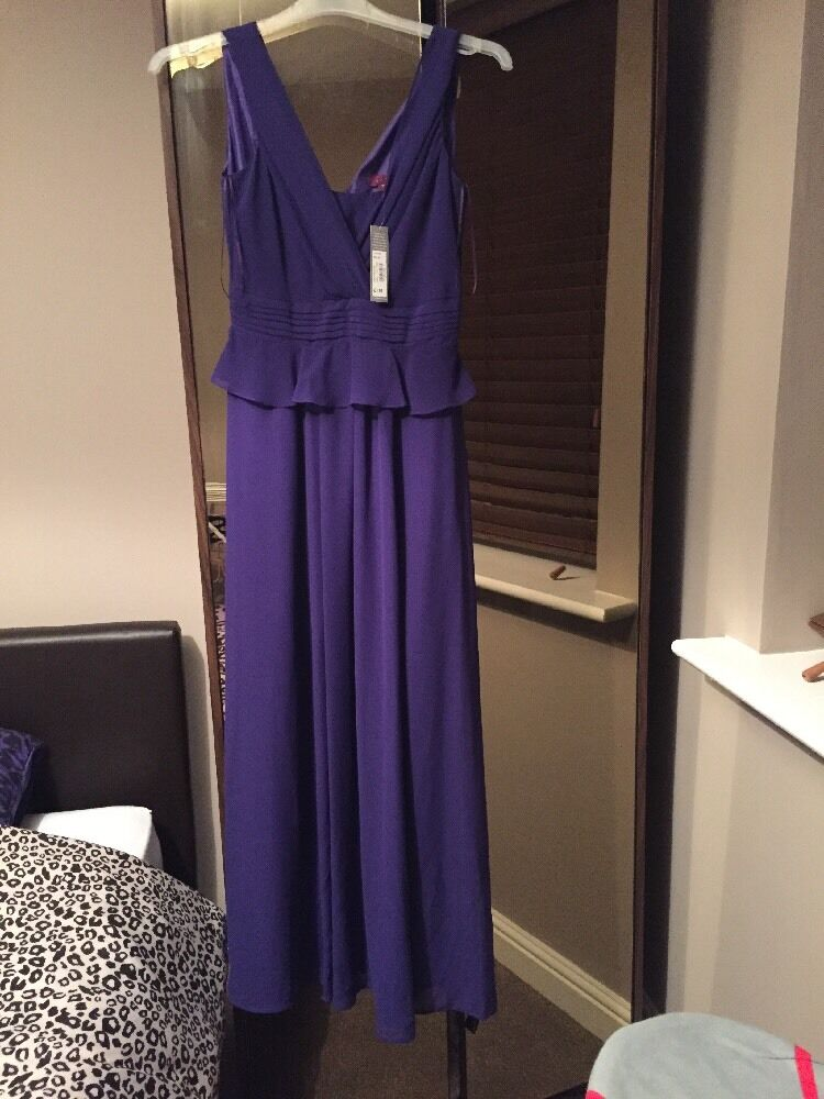 Debenhams Debut Purple Peplum Long Dress Size 10