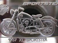 1.4 OZ.999 PURE SILVER 1957 SPORTSTER  HARLEY 75TH STURGIS ANNIVERSARY + GOLD