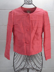 New-J-Crew-Coral-Pink-Cropped-Frayed-Jacket-Size-8-NWT-148