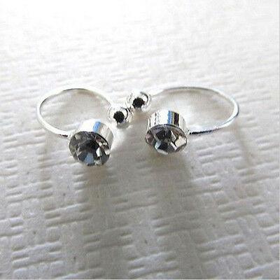 Clips On U Body Crystal Rhinestone Earring Nose Lip Ring Ear Cuff Stud 2pcs Gift