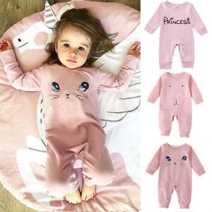 Newborn-Infant-Baby-Girl-Kids-Long-Jumpsuit-Pink-Romper-Bodysuit-Clothes-Outfits