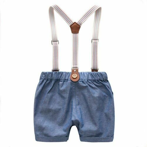 Newborn Gentleman Party Soft Cotton Solid Jumpsuit Baby Clothes Summer Boys Suit