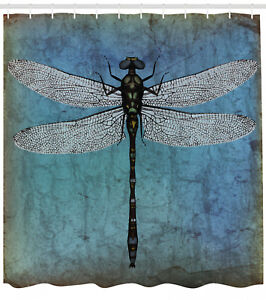Image Is Loading Grunge Shower Curtain Dragonfly Bug Turquoise Print For