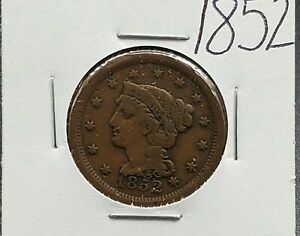 1852 Braided Classic Liberty Head US Large Cent 1c Choice Fine / VF Very Fine