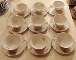 9-Vintage-Royal-Duchess-China-Mountain-Bell-Pattern-Tea-Coffee-Cups-amp-Saucers