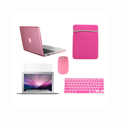 """Mouse Sleeve Bag 5 in1 Rubberized PINK Case for Macbook PRO 15/""""+Key Cover+LCD"""