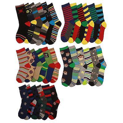 5 pairs of Kids Boys Cotton Rich Chain Store Design Coloured Heel /& Toe Socks