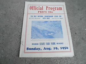 MISC-3134-AUG-19-1956-CAR-RACING-program-MILWAUKEE-STATE-FAIR-w-ticket