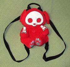 """SKELANIMALS Red Puppy Skeleton Knapsack Backpack Tote 13"""" long Adjustable Strap"""