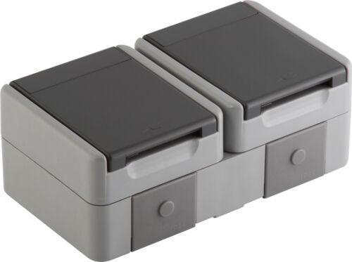 Fontana Doppelsteckdose Feuchtraum Steckdose IP44 Aufputz Aufputzsteckdose Grau
