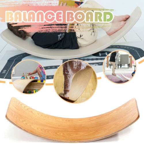 "32/"" Kids Balance Board Wooden Child Waldorf Curved  Balance Beam Bridge Toys"